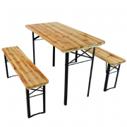6 Foot Wooden Trestle Table + Bench Set